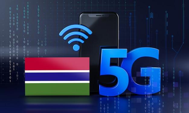 Gambia klaar voor 5g-verbindingsconcept. 3d-rendering smartphone technische achtergrond