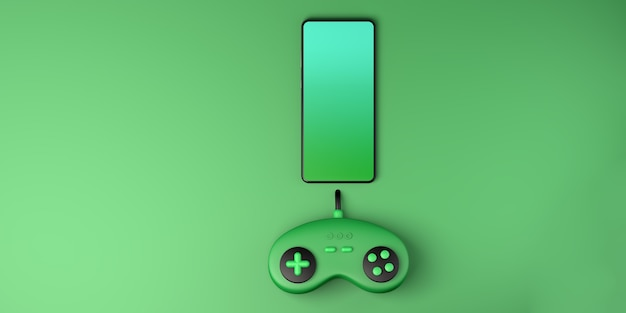 Gameconcept smartphone met gameconsole-controller gamepad ruimte kopiëren gamer