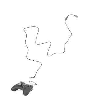 Gamepad met draad op een witte achtergrond