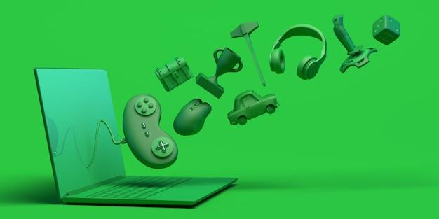 Gamer concept met laptop game console controller dobbelstenen koptelefoon borst 3d illustratie