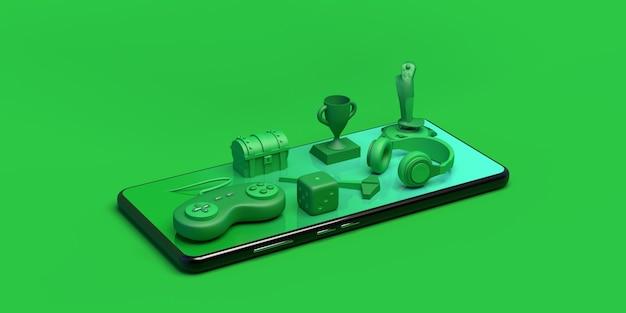 Gamer concept met smartphon game console controller dobbelstenen koptelefoon borst joystick 3d illustratie