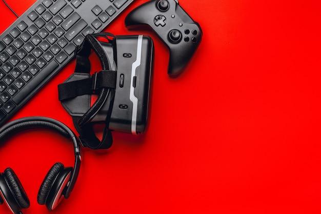 Gamer-werkplek met items