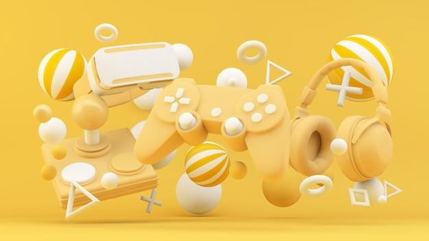 Gamerapparatuur op gele achtergrond in 3d-weergave