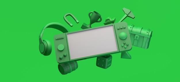 Gaming concept drijvende gamepad met helmen borst prijs diamant spelelementen 3d illustratie