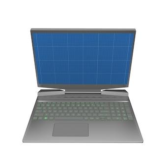 Gaming laptop met blauwdruk in scherm