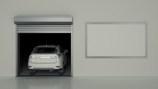 Garage met geopende roldeur 3d-rendering