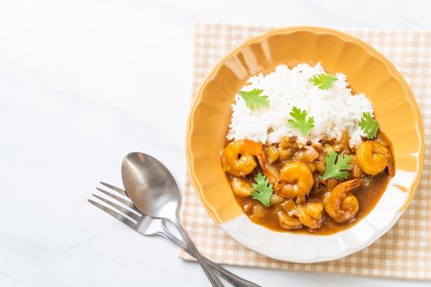 Garnalen in kerriesaus op rijst