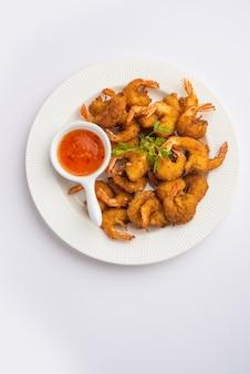 Garnalenbeignets of garnaal bajji of jheenga pakodaãƒâƒã'â'ãƒâ'ã'â of kolambi of zinga pakora, indiaas snackvoedsel