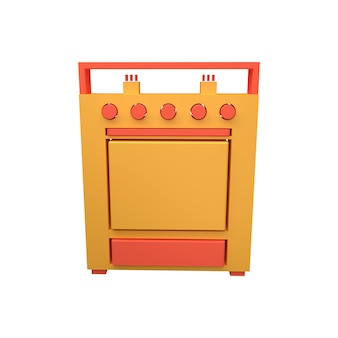 Gasfornuis icoon. 3d illustratie van het gasfornuis.