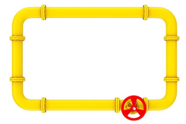 Gasleidingen en ventiel op een witte achtergrond. 3d-rendering