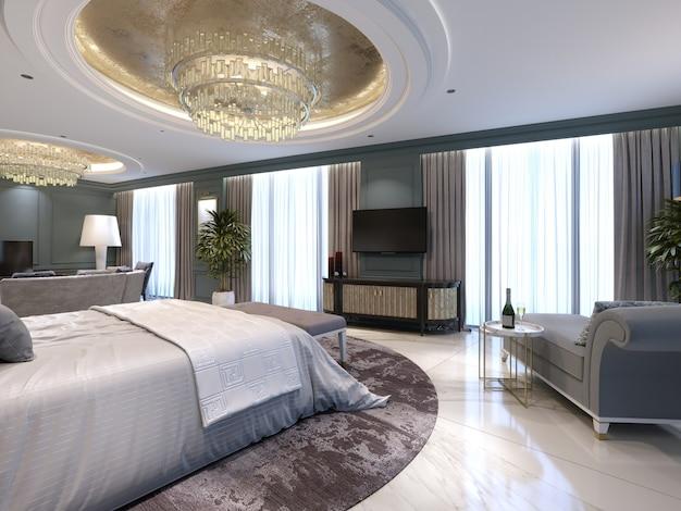 Gastenkamer in een luxe nieuw hotel met open ruimte, een slaapkamer en een woonkamer lounge. 3d-rendering.