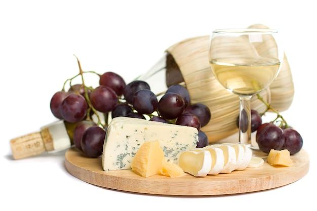 Gastronomisch eten - wijn, kaas en druiven