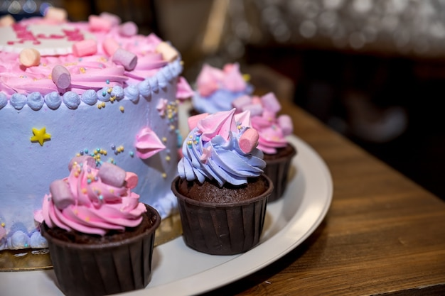 Gastronomische cupcakes met roze, violette botercreme glazuur en marshmallow