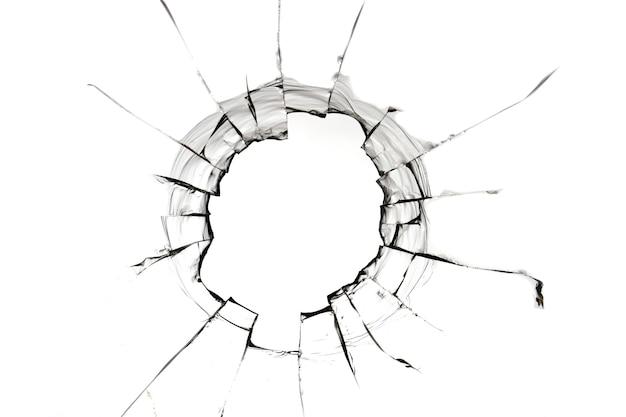 Gat in glas geïsoleerde scheuren op wit