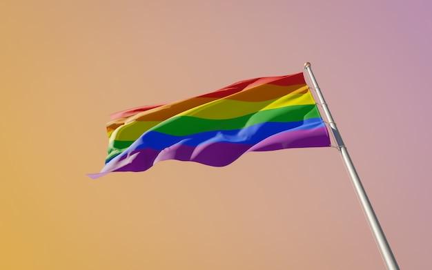 Gay pride lgbt-vlag op gekleurde achtergrond