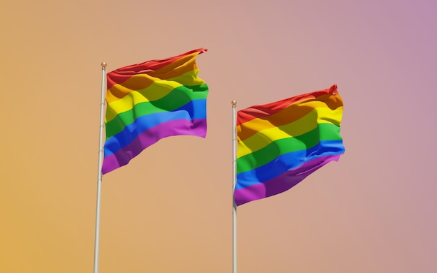 Gay pride lgbt-vlaggen op gekleurde achtergrond