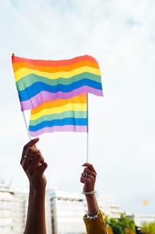 Gay pride parade in de stad