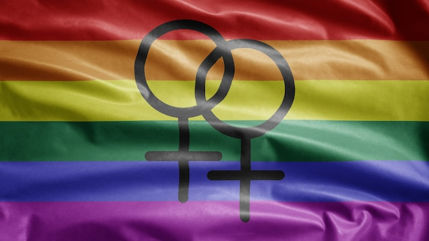 Gay pride vlag zwaaien in de wind. lgbt-gemeenschapsbanner waait, zachte en gladde zijde. doek stof textuur vlag