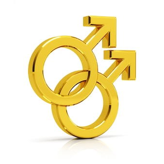 Gay symbool 3d render. gouden homo symbool geïsoleerd op een witte achtergrond.