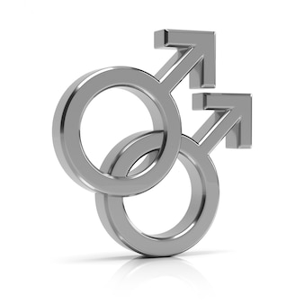 Gay symbool 3d render. zilveren homo symbool geïsoleerd op een witte achtergrond.