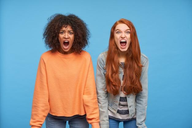 Geagiteerde jonge aantrekkelijke vrouwen die boos hun gezichten fronsen terwijl ze opgewonden schreeuwden, de handen langs hun lichamen houden terwijl ze poseren voor de blauwe muur