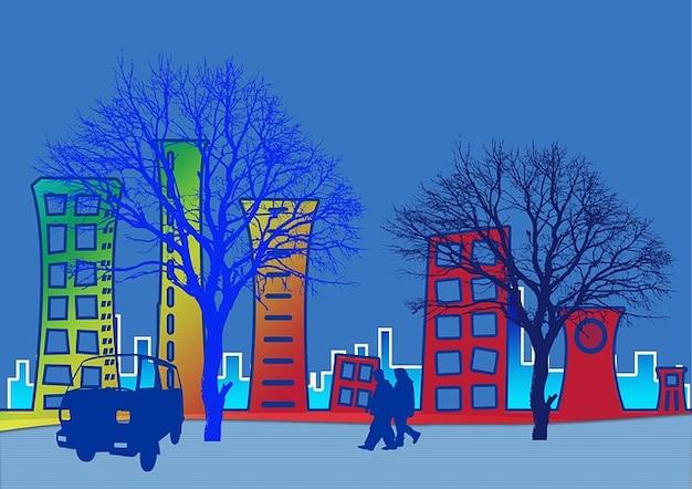 Geanimeerde voertuig verkeer bomen stad