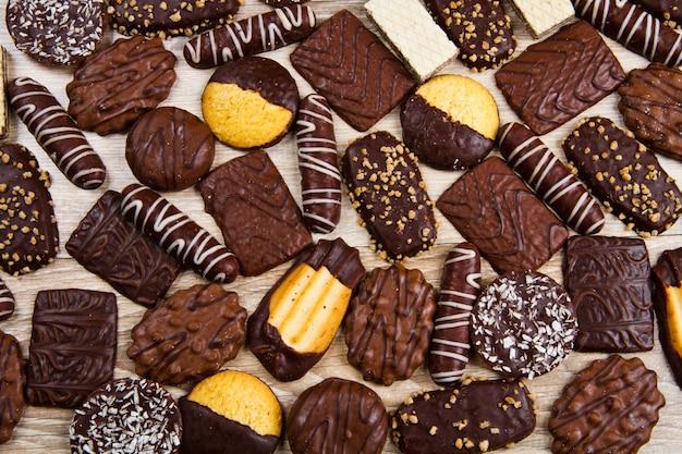 Geassorteerde selectie van chocoladekoekjes