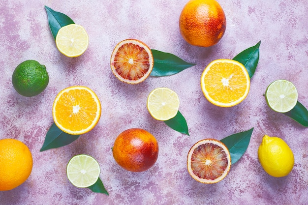 Geassorteerde verse citrusvruchten, citroen, sinaasappel, limoen, bloedsinaasappel, fris en kleurrijk, bovenaanzicht