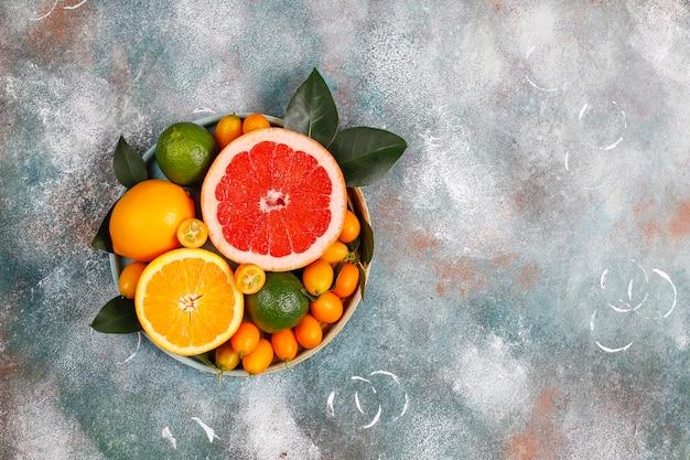Geassorteerde verse citrusvruchten, citroen, sinaasappel, limoen, grapefruit, kumquats.