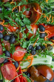 Geassorteerde verse groenten dicht omhoog.