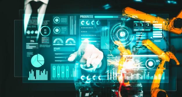 Geavanceerd robotarmsysteem voor de digitale industrie en robottechnologie in de fabriek