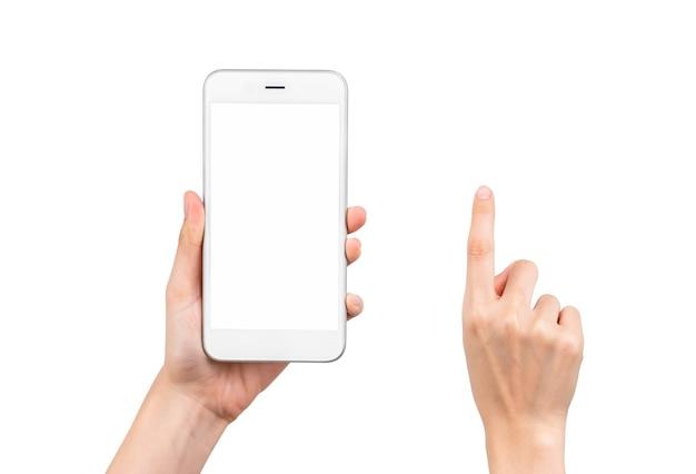 Gebaarverzameling van hand met smartphone met een leeg scherm, mock-up voor applicatie mobiel, modern design met uitknippad.