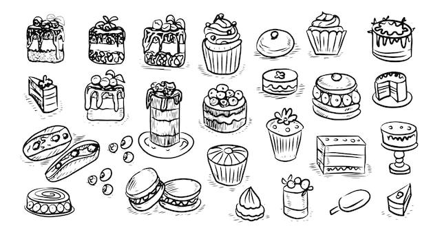 Gebak gebak taarten cupcakes afbeeldingen gravure schets handgetekende foto zoet eten mannen