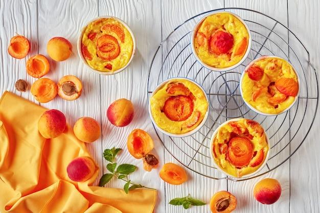 Gebakken abrikozenclafoutis op het rooster geplaatst