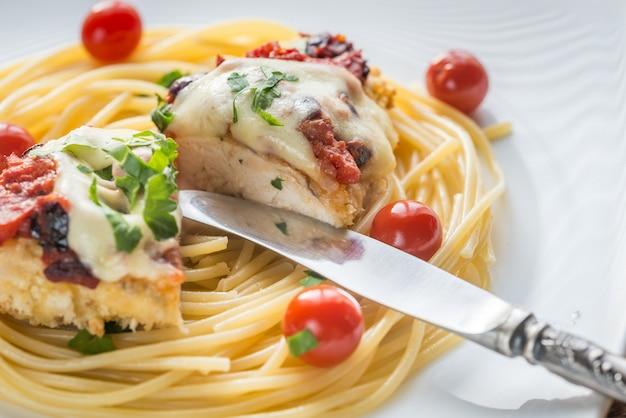 Gebakken kip met parmezaan en mozzarella