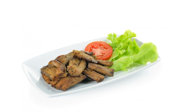 Gebakken shitake stam, vegetarisch voedsel geïsoleerd