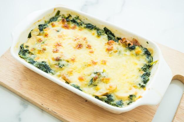 Gebakken spinazie lasagne