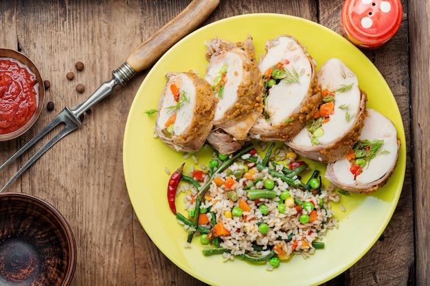 Gebakken vlees en risotto
