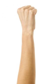 Gebalde hand in een vuist. vrouwenhand gesturing geïsoleerd op wit