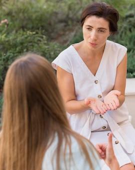Gebarentaal die door vrouwen wordt gebruikt om met elkaar te communiceren