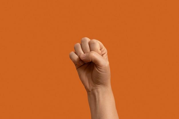 Gebarentaal symbool geïsoleerd op oranje