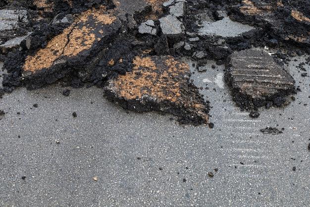 Gebarsten asfaltachtergrond en textuur
