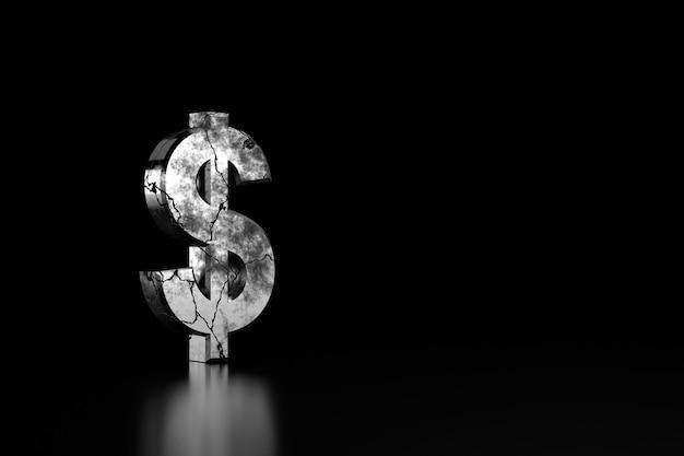 Gebarsten dollarteken in het zwart. 3d-weergave.