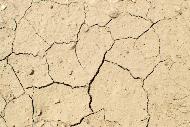Gebarsten droge aarde bovenaanzicht
