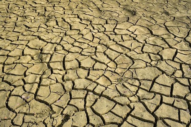 Gebarsten droge aarde met scheuren textuur