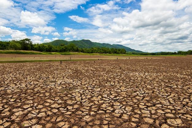 Gebarsten droog land. droogte concept