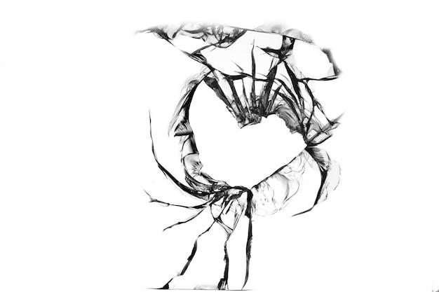 Gebarsten gat op gebroken glas, textuur op witte achtergrond.