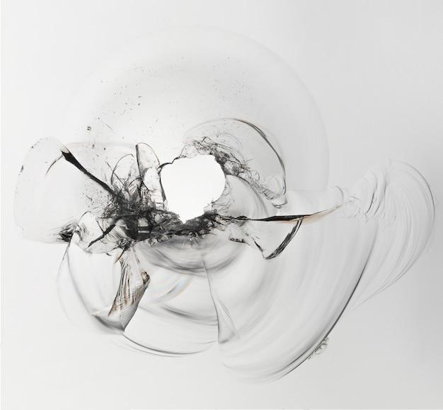 Gebarsten glas op een wit