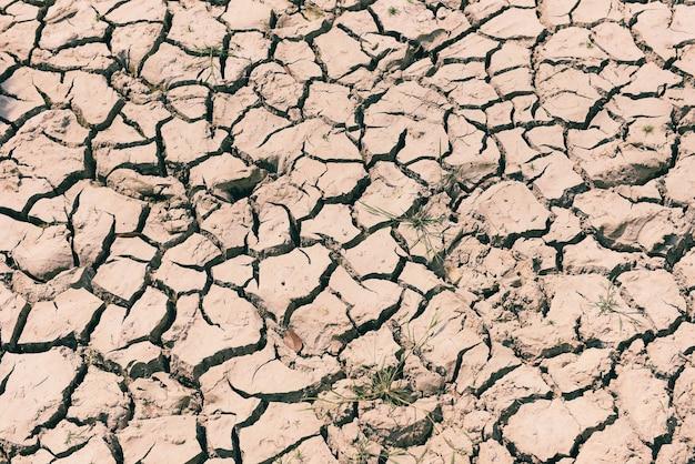Gebarsten grond dor land met droge en gebarsten grond woestijn textuur achtergrond, opwarming van de aarde concept
