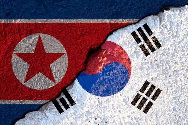 Gebarsten van de vlag van noord-korea en de vlag van zuid-korea